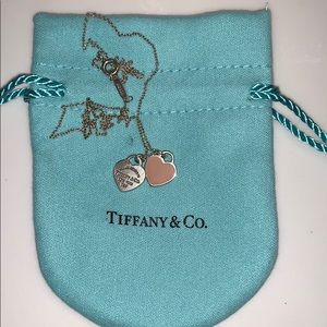 Tiffany & Co Mini Double Heart Tag Necklace